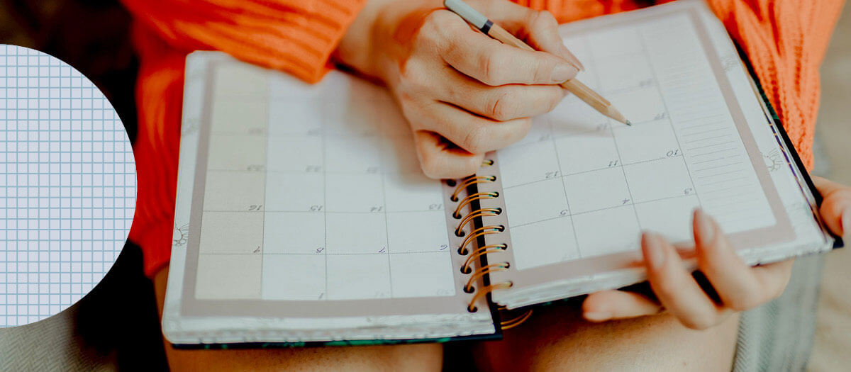 Woman using planner