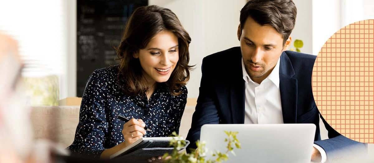 Man and woman with technology  discussing options