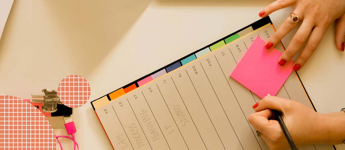 Planner with sticky notes