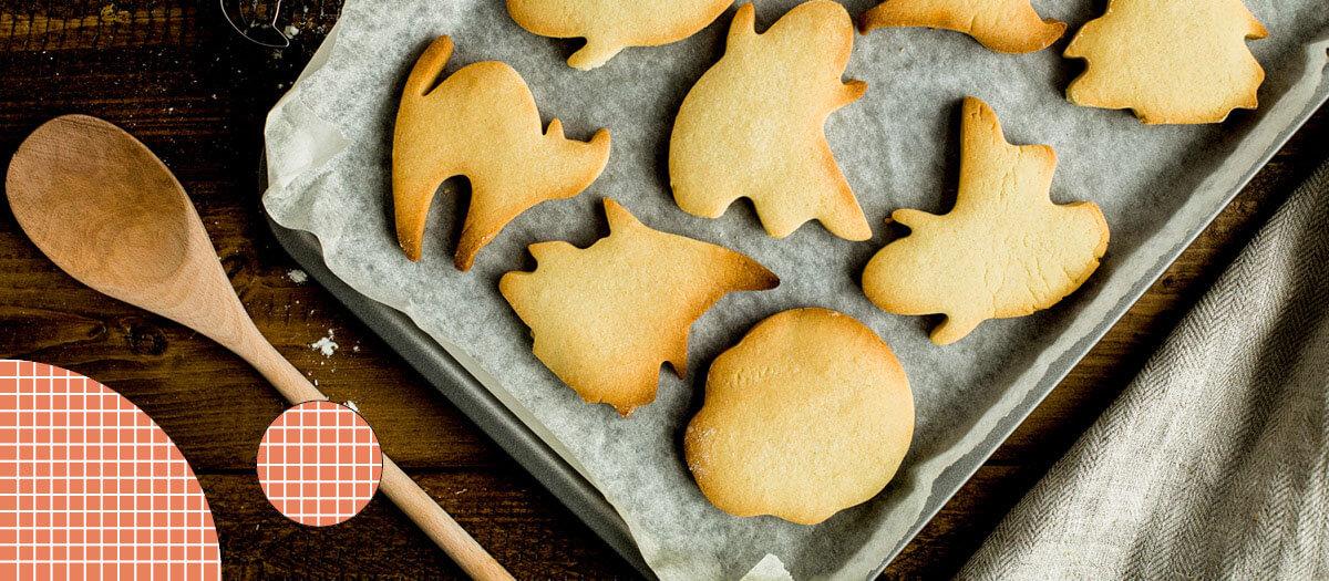 Tray of Halloween shape cookies