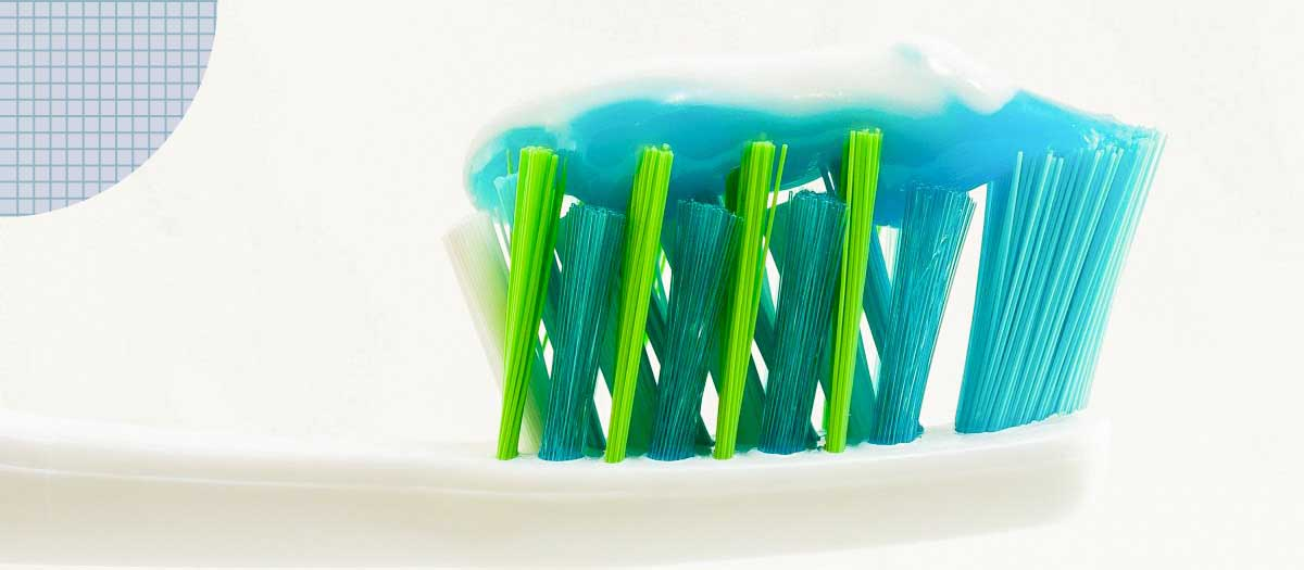 Toothbrush with toothpaste on the bristles