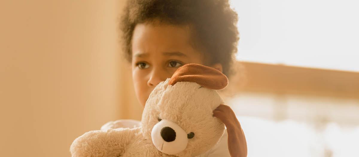 Small boy holding stuffed animals