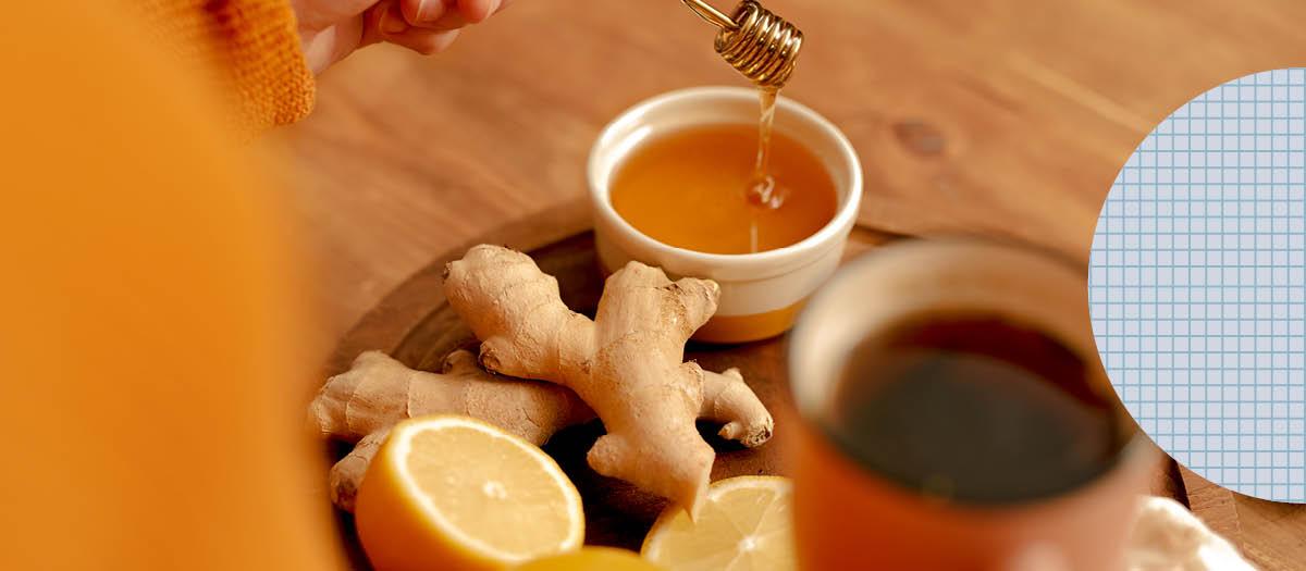 Honey, tea, ginger and lemon