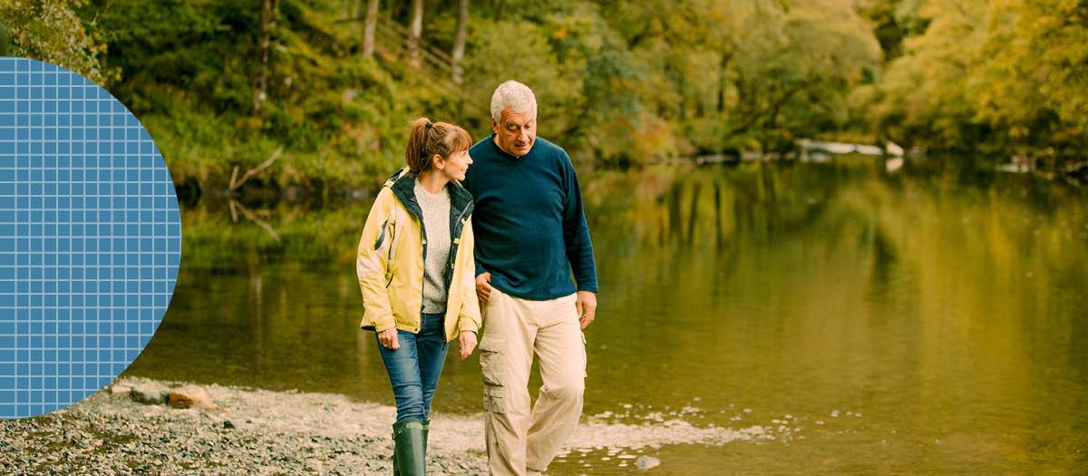Couple on a hike next to creek